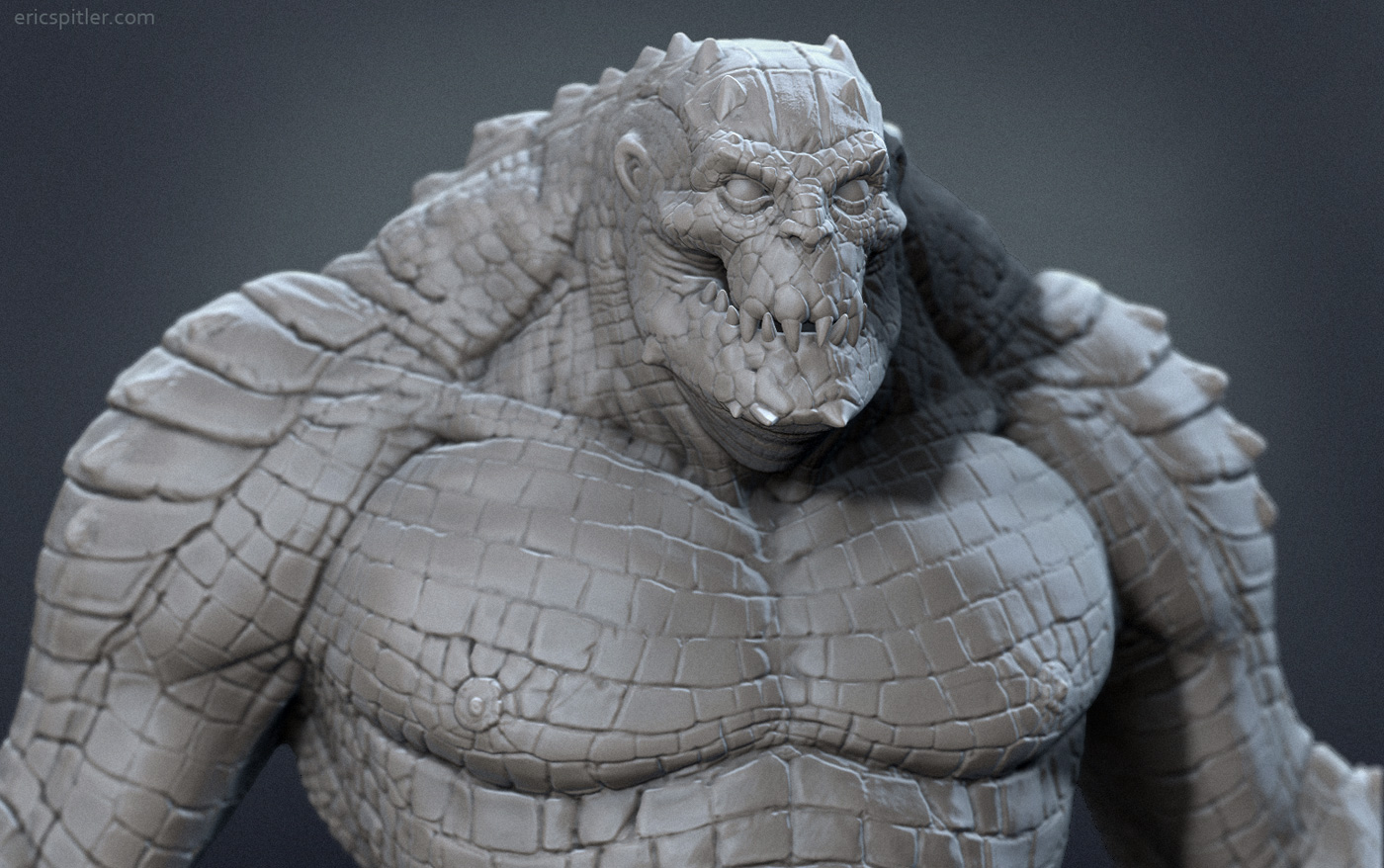 killer croc zbrush sculpt closeup