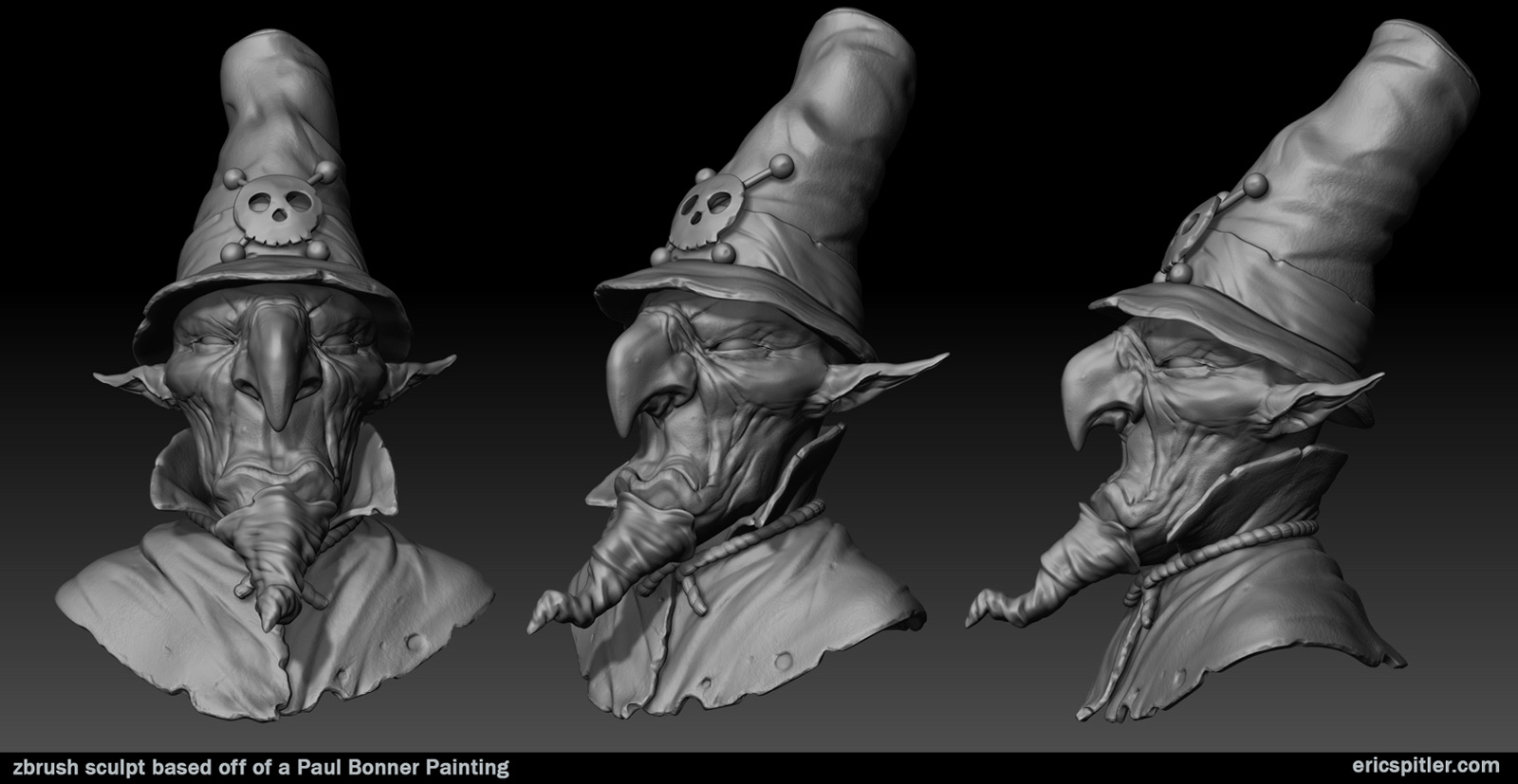 paul bonner 3d sculpt bw
